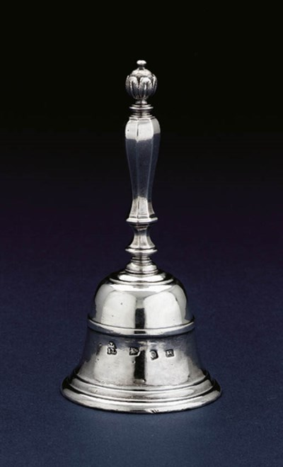 A GEORGE II SILVER TABLE BELL