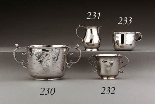A GEORGE III SILVER TWO-HANDLED CHRISTENING CUP