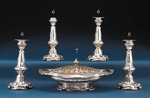 A SILVER FLOWER BOWL WITH PLAT