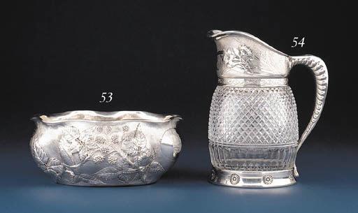 A SILVER-MOUNTED CUT-GLASS PIT