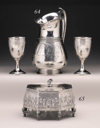 A SILVER WATER PITCHER AND PAI