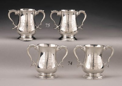 A PAIR OF SILVER COMMUNION CUP