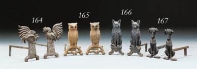 A PAIR OF CAST-IRON CAT ANDIRO