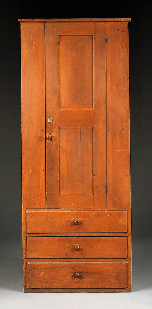A SHAKER STAINED CUPBOARD WITH