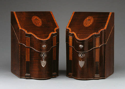 A PAIR OF FEDERAL INLAID MAHOG