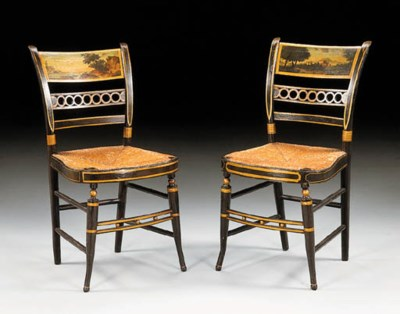 TWO FANCY PAINTED SIDE CHAIRS