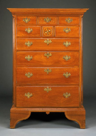 A CHIPPENDALE INLAID WALNUT TA