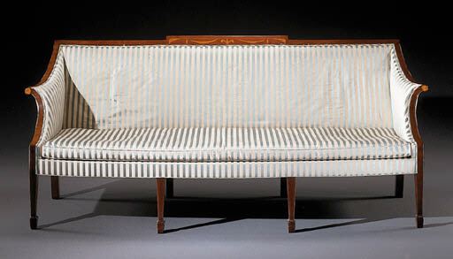 A FEDERAL INLAID MAHOGANY SOFA