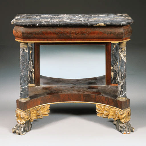 A CLASSICAL MAHOGANY MARBLE-TO