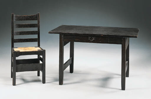 AN OAK LIBRARY TABLE AND CHAIR