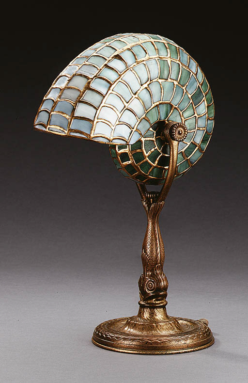 A 'NAUTILUS' LEADED GLASS AND