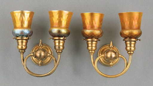 A PAIR OF GILT-BRONZE AND FAVR