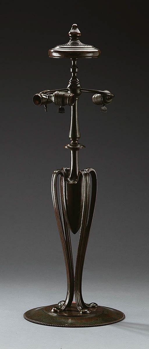 A BRONZE LAMP BASE