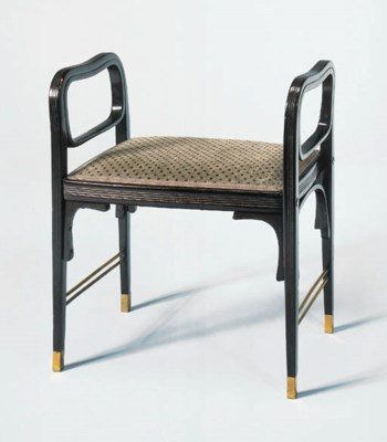 AN EBONIZED BENTWOOD BENCH