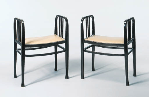 A PAIR OF BENTWOOD BENCHES