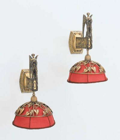 A PAIR OF BRASS WALL SCONCES