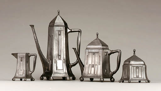 A FOUR-PIECE PEWTER COFFEE AND