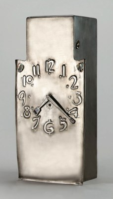 A PEWTER AND ABALONE CLOCK
