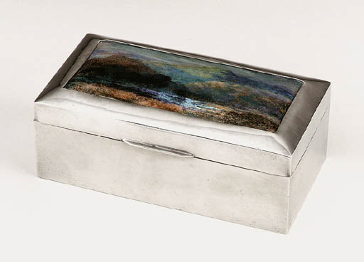 AN ENAMELED PEWTER BOX