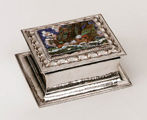 AN ENAMELED SILVER-PLATED COPP