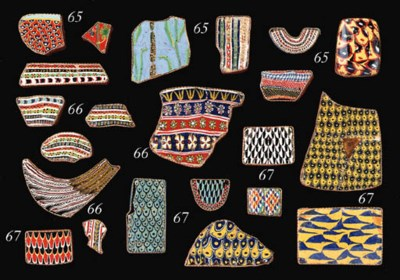 SEVEN EGYPTIAN MOSAIC GLASS IN