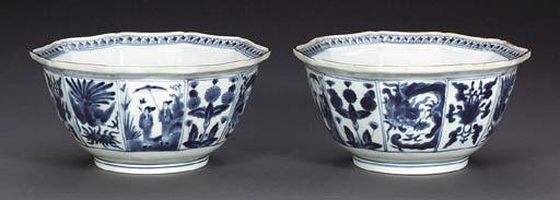 A Pair of Decagonal Porcelain