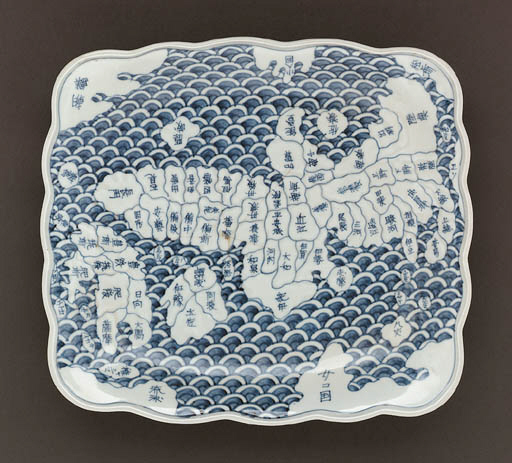 A Moulded Porcelain 'Map Dish'