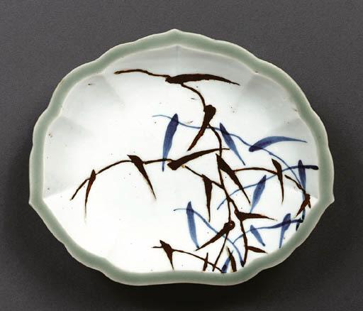 A Leaf-Shaped Porcelain Dish