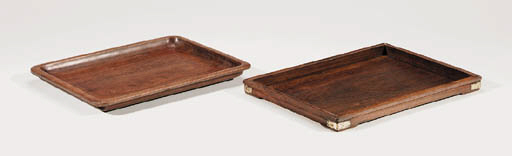 A Set of Two Huanghuali Trays