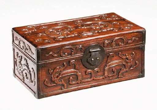 A Fine Carved Huanghuali Box,