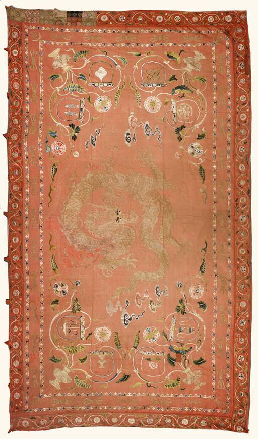A Rare Embroidered Silk Hangin