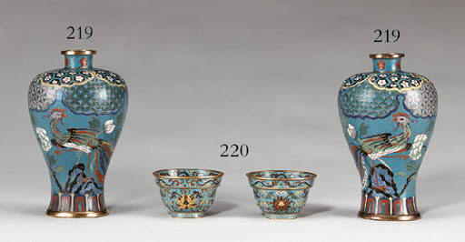 A Pair of Small Cloisonn Ename
