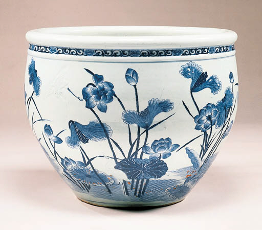 A Large Carved Blue and White