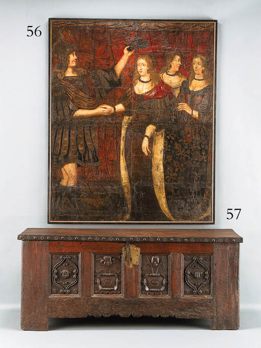 A FLEMISH PAINTED AND PARCEL-G