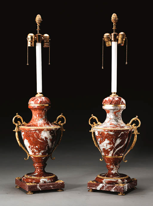 A PAIR OF ORMOLU-MOUNTED AND R