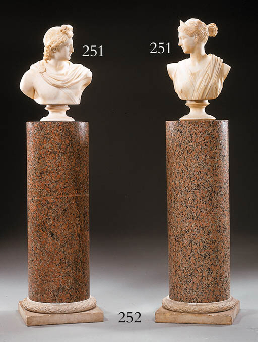 TWO ITALIAN WHITE MARBLE BUSTS