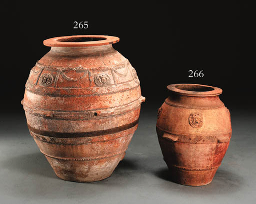 A SPANISH TERRACOTTA OIL JAR