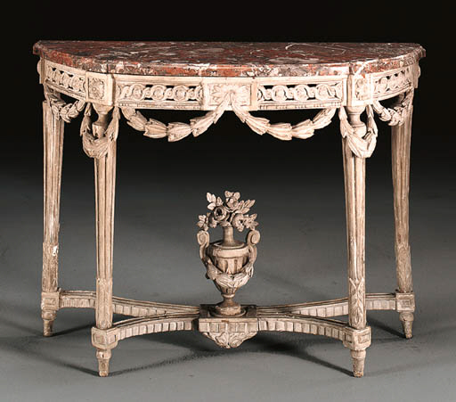 A LOUIS XVI GREY-PAINTED CONSO