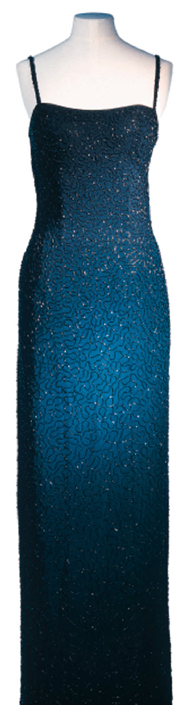 A BLACK SEQUINNED DRESS