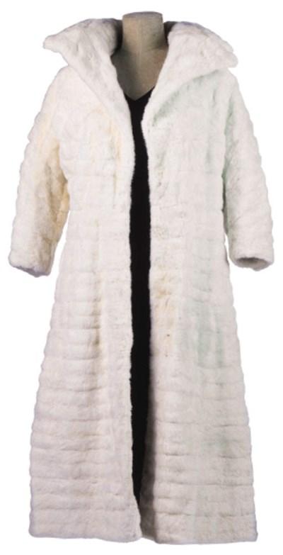 A RIBBED WHITE ERMINE COAT