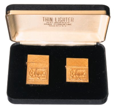 A PAIR OF GILT-METAL LIGHTERS