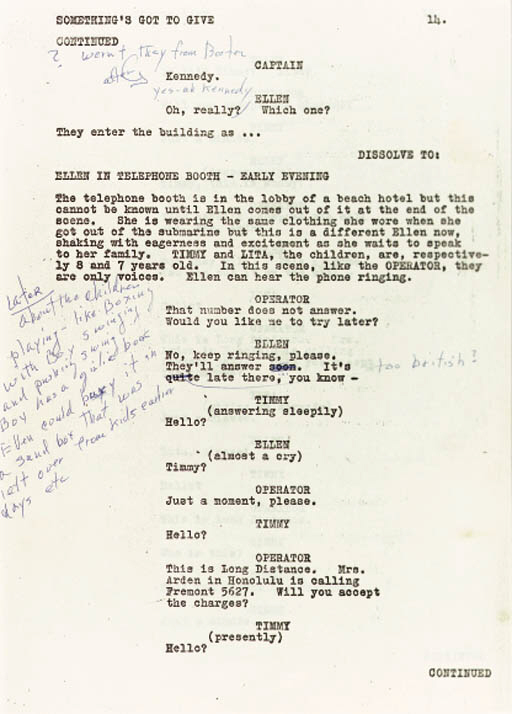 SCRIPT FOR SOMETHING'S GOT TO GIVE, 1961