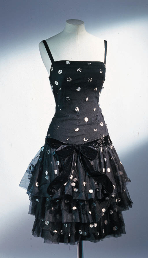 A BLACK POLKA DOT DRESS