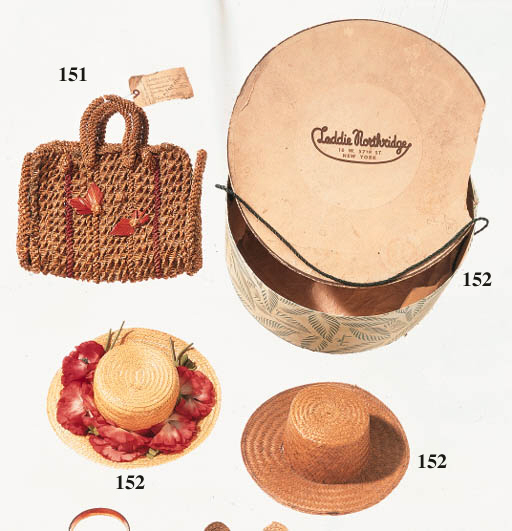 TWO STRAW HATS AND A BAG