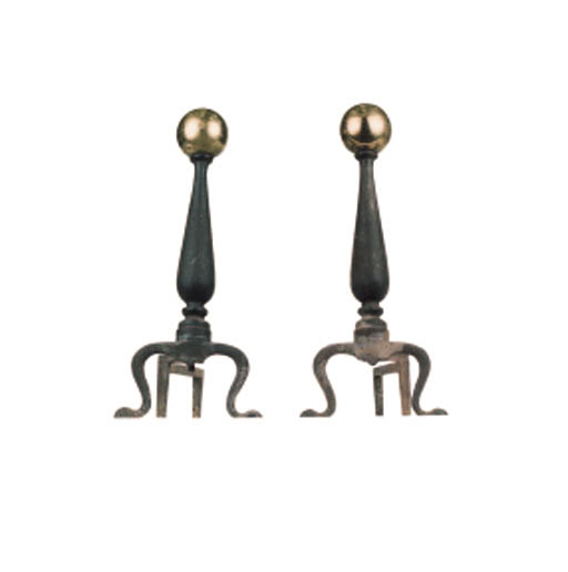 TWO PAIRS OF ANDIRONS