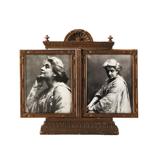 A BAROQUE STYLE GOLD-PAINTED DIPTYCH PICTURE FRAME