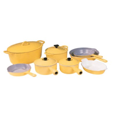 A GROUP OF ENAMELED COOKWARE A