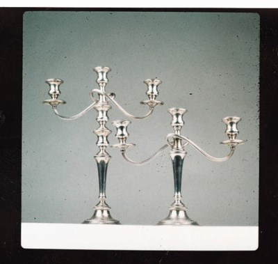 A PAIR OF STERLING SILVER CAND