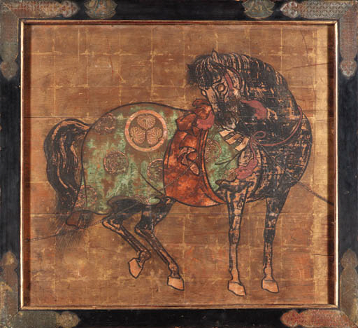 AN ORIENTAL GILT AND PAINTED W