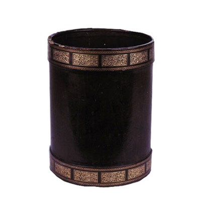 A GILT-TOOLED BROWN LEATHER WA